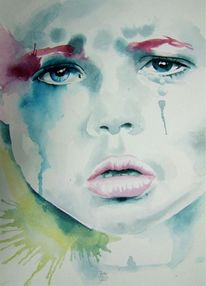 Gesicht, Kind, Aquarellmalerei, Malerei
