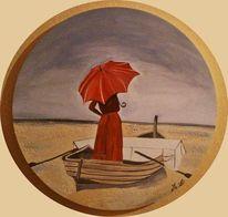 Malerei, Menschen, Boot, Frau