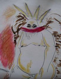 Zeichnung, Tusche, Untergang, Fett