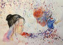 Sehnsucht, Bunt, Traurig, Wasserfarben