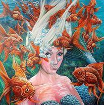 Goldfisch, Luftblasen, Unterwasser, Nixe meermaid