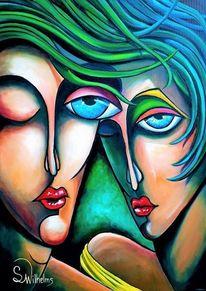 Portrait, Gesicht, Abstrakt, Paar