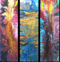 Flüssig, Verlaufen, Triptychon, Malerei