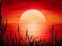 Acrylmalerei, Rot, Sonnenuntergang, Malerei