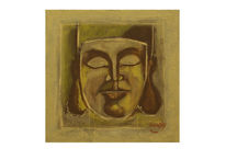 Buddha, Portrait, Gold, Zeitgenössische kunst