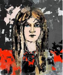 Junge, Grau, Frau, Abstrakte kunst