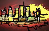 Digital, Stadt, Landschaft, Nacht