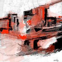 Modern, Rot schwarz, Grau, Abstrakt