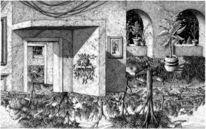 Haus, Zeichnung, Landschaft, Tuschmalerei