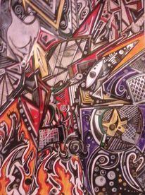 Zeichnung mit edding, Zeichnungen, Verwirrung, Maske