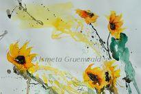 Sonnenblumen, Wiesenblumen, Kunst kaufen, Aquarellmalerei