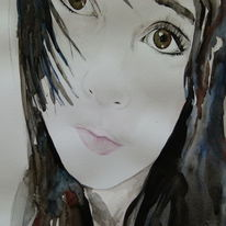 Aquarell malerei, Design, Frau, Portrait in aquarelle