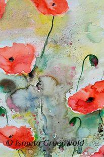Mohn blumen, Blumenkunst, Aquarellmalerei, Blumenmalerei