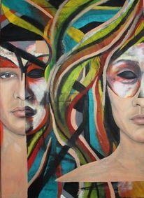 Menschen, Maske, Malen, Surreal