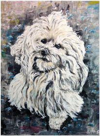 Hund, Acrylmalerei, Tiere, Malerei