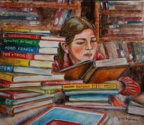 Bunt, Lesen, Bücher, Mädchen