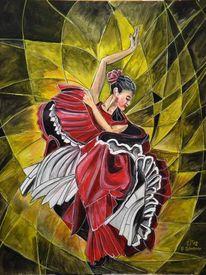 Flamenco, Bewegung, Rot, Frau