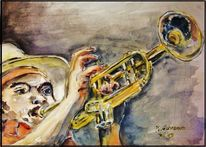 Jazztrompeter, Musik, Aquarell, Figural
