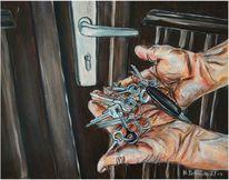 Tür, Hände, Schlüssel, Frage