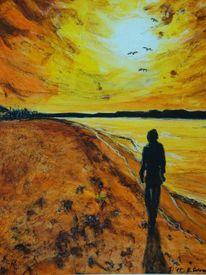 Acrylmalerei, Malerei, Meer, Spaziergang