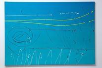 Abstrakt, Blau, Luft, Acrylmalerei