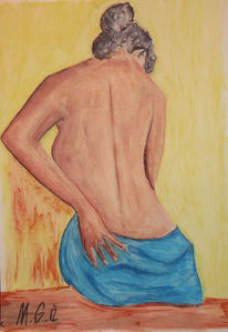 Akt, Pastellmalerei, Sauna, Frau