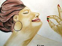 Zeichnung, Pastellmalerei, Comic, Dicke frau