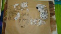 Löwe, Bleistiftzeichnung, Papagei, Wachsfarben