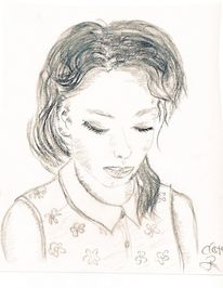 Augen, Blumen, Mädchen, Zeichnung