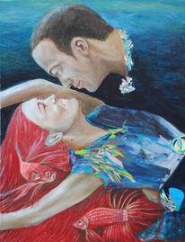 Portrait, Wasser, Fische, Haare