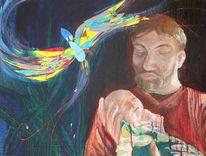 Vater, Ölmalerei, Kind, Schreck