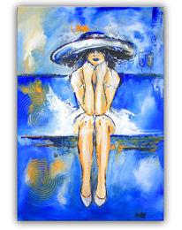 Acrylmalerei, Sektglas, Hut, Moderne malerei