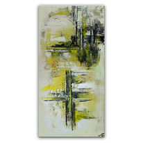 Gelb grau, Hochkant, Malerei, Gemälde