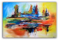 Modernes gemälde, Modern, Acrylmalerei, Rot
