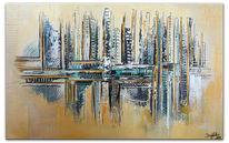 Ocker beige petrol, Handgemaltes acrylbild, Abstraktes leinwandbild, Petrol ocker