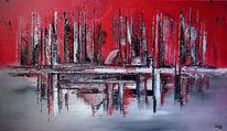 Auftragsmalerei, Acrylmalerei, Skyline, Abstrakte malerei