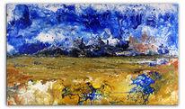 Abstrakt, Gelb, Blau, Fließtechnik