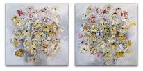 Acrylmalerei, Rot, Blumen gemalt, Modern art