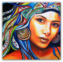 Modern, Acrylmalerei, Frauen gesicht, Gelb