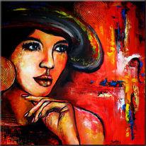 Gesicht, Acrylbild portrait, Moderne kunst, Malerei