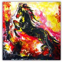 Pferde, Bunt, Gemälde, Schwarz