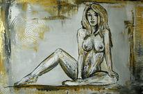 Schatten, Frau nackt, Grün, Struktur