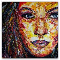 Acrylmalerei, Struktur, Gesicht, Frau