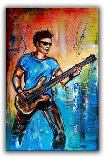 Gitarrist, Bassist und Gitarren Spieler - Musiker in Aktion in Acryl auf Leinwand