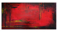 Malerei, Rot schwarz, Abstrakte acrylmalerei, Glut
