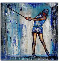Acrylmalerei, Modern, Golfspielerin, Blau weiß
