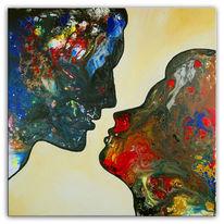 Frau, Acrylmalerei, Blau, Mann