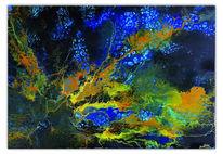 Korallen 2, Gemälde, Abstrakte malerei, Blau gelb