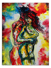 Leidenschaft, Handgemaltes acrylibild, Rot gelb, Abstrakte erotische malerei