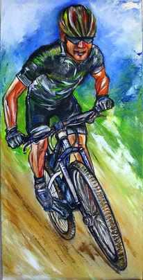 Acrylmalerei, Fahrradfahrer gemalt, Rot, Modern art